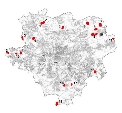 Übersicht der FNW-Flächen im Stadtgebiet von Dortmund